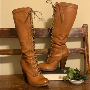 Seychelles Lace Up Heeled Knee Boots Leather Brown